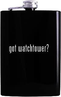 got watchtower? - 8oz Hip Alcohol Drinking Flask, Black