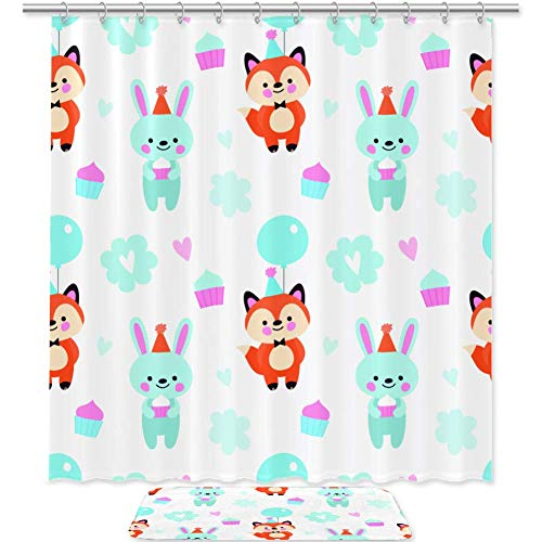 TIZORAX Fox & Kaninchen hält Kuchen & Ballon Bad Duschvorhang Set mit rutschfesten Badezimmer Teppiche Bodenmatte Home Decoration