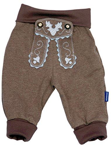 Baby Jogginghose im Lederhosen-Look, Braun, 100{e3954c6808c8a0473518123d97cbef1a4e5e43893380feede64c79a9f86099cb} Baumwolle, Größe 74 inkl. Autoaufkleber