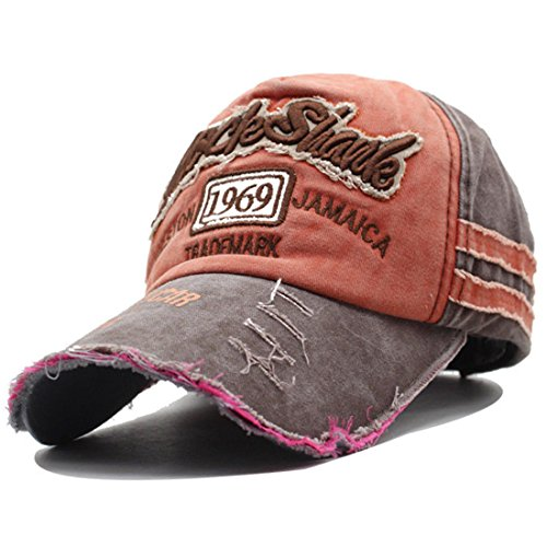 Kuyou Distressed Basecap Snapback Outdoor Baseball Kappe Mütze (Braun)