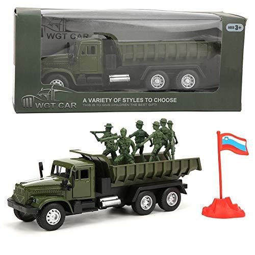 1:43 Auto in Lega con Suono e Luce Camion Militare Soldatini Giocattolo Figurine Simulazione Veicolo da Collezione Miniatura Decor Casa Regali Compleanno Natale per Bambino Ragazze Ragazzi (Camion)