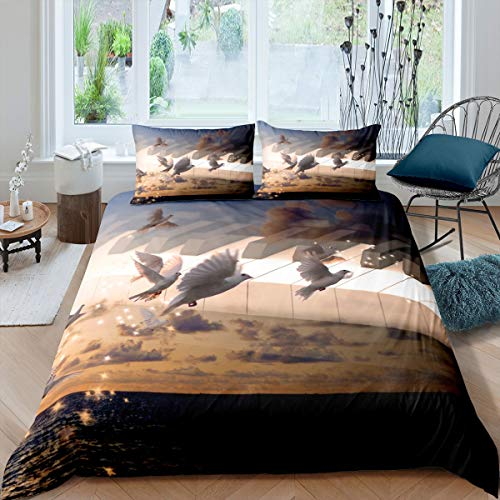 Tbrand Love Peace Bed Covers Single Lovely House Bedspread Quilt Cover Set Newest Print Comforter Cover Set Warm Breathable Bedclothes for Winter 2pcs (1 Duvet Cover with Pillowcases)