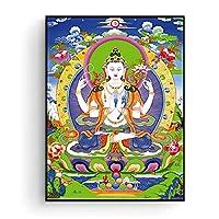 bdkym 仏教絵画タンガキャンバスプリントキャンバスに印刷モダンな家の装飾リビングルームの壁アート額縁-60X80Cmx1フレームなし