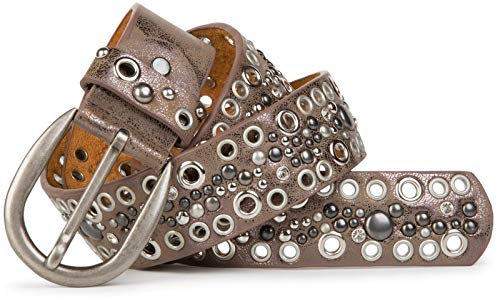 styleBREAKER Nietengürtel mit Lochnieten und Strass im Vintage Style, Nieten Gürtel, kürzbar, Damen 03010026, Farbe:Antik-Taupe, Größe:85cm