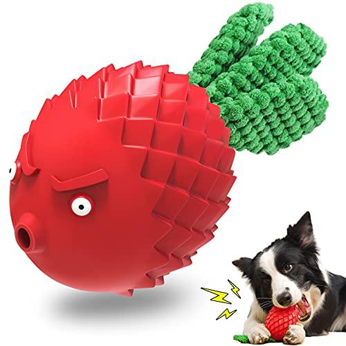 UniPlus 1x Juguete Masticable para Perros de Inteligencia Indestructible en Caucho Natural para Cachorros Grandes y Medianos Perros Pequeños, Palo de Limpieza de Dientes para Cuidado Dental, Rojo