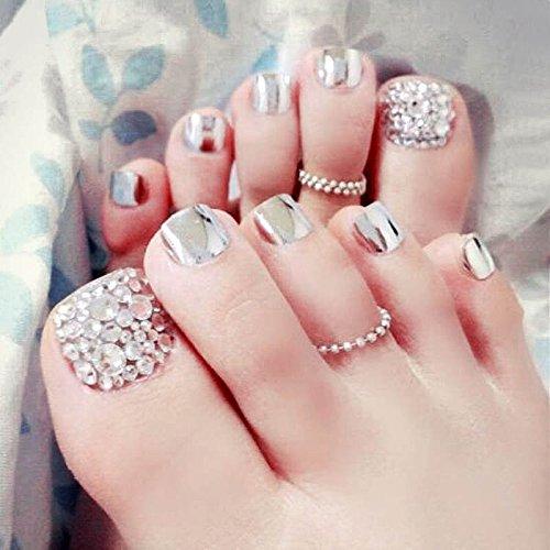 24x uñas artificiales postizas de lzn, con purpurina y brillantes con adhesivo
