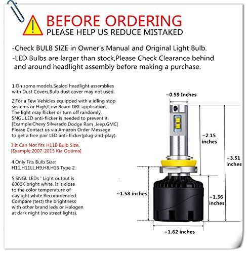 SNGL Super Bright LED Headlight Bulbs H11 (H8, H9) - Adjustable-Beam - 110w 12,400Lm - 6000K Bright White