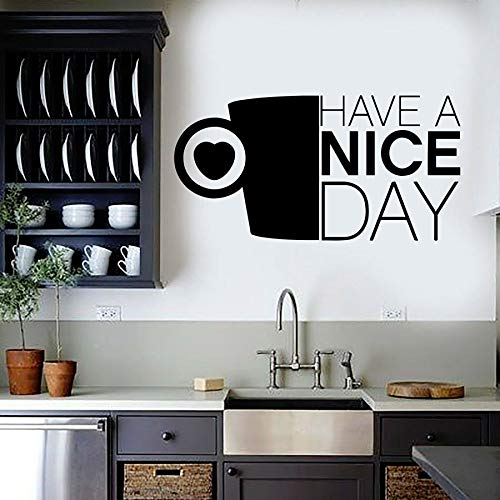 Las calcomanías de pared tienen un buen día cocina frente taza de café amor corazón vinilo pegatinas de pared café tienda de postres decoración de la ventana