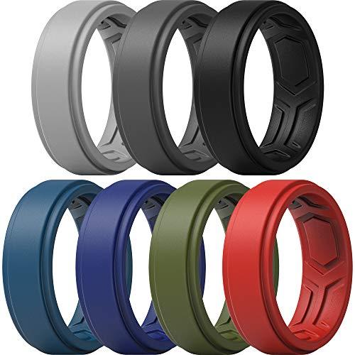ThunderFit Silicone Rings for Men - 7 Rings Breathable Patterned Design Sleek Step Edge (10.5-11 (20.6mm))