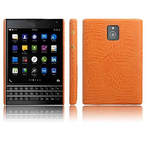 Handy Kasten für Blackberry Passport Q30 PU Leder Krokodil Haut Hülle Back Hülle Cover (Gelb)