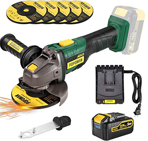 Brushless Cordless Angle Grinder 20V MAX, POPOMAN 4-1/2 Inch 10000RPM Cordless Grinder with 4.0Ah Lithium-ion Battery & Fast Charger, 3-Position Auxiliary Handle, 5pcs 5'' Max Grinding Wheel