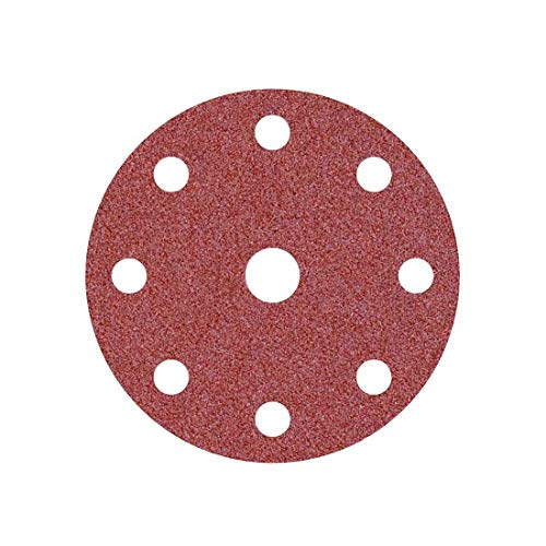 MioTools Fox Discos Abrasivos con Velcro, 150 mm, 9 Agujeros, Grano 180, para Lijadoras Roto Orbitales, Corindón Normal (50 Piezas)