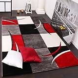Paco Home Tapis De Créateur Aux Contours Découpés à Carreaux en Rouge Noir Crème, Dimension:160x230 cm