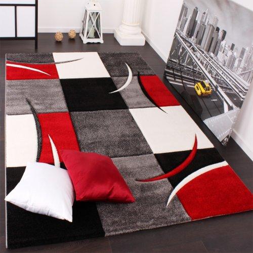 Paco Home Tapis De Créateur Aux Contours Découpés à Carreaux en Rouge Noir Crème, Dimension:200x290 cm