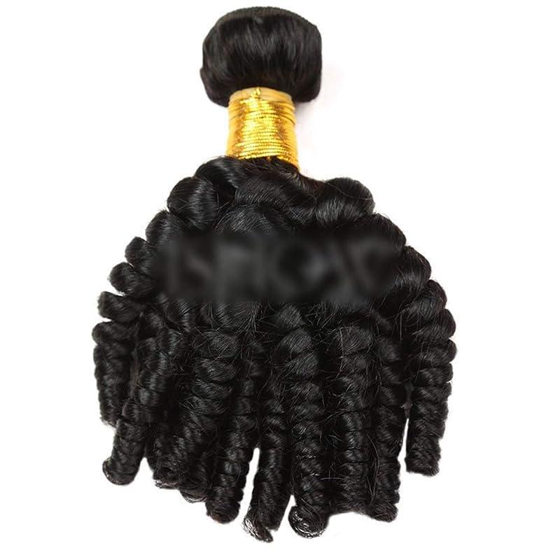 ワックス地域デマンドYESONEEP Funmi巻き毛人間の髪の毛の束自然な黒髪エクステンション1バンドル髪横糸複合毛レースのかつらロールプレイングかつらロングとショートの女性自然 (色 : 黒, サイズ : 12 inch)