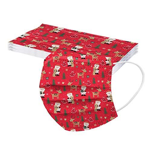 YunYoud 10/20/50/100 Stück Erwachsenen Weihnachten Halstuch Atmungsaktiv Outdoor Anti-Staub Weihnachts Motiv Druck Mundschutz Einweghülle Bandana