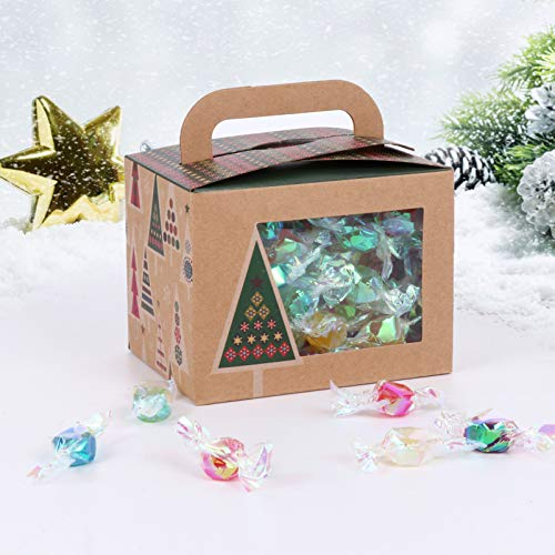 VALICLUD 20 cajas de papel kraft de Navidad con ventana visible para cupcakes, caramelos, cajas de regalo para tartas de Navidad (colores surtidos)