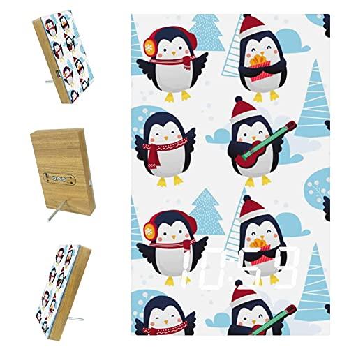 EZIOLY Reloj despertador digital con patrón de pingüino de invierno, visualización de hora, temperatura LED, resina de madera, USB, con batería, ahorro de energía para dormitorio, oficina