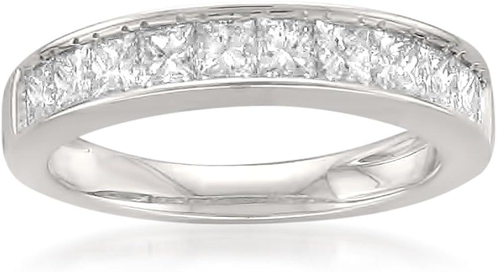 1.00 Carat Diamond, Channel-Set 14K Solid Gold Princess-cut 11-Stone Diamond Bridal Wedding Band (J-K, SI1-SI2) by La4ve Diamonds   Real Diamond Jewelry For Women Gift Box Included (White,Yellow Gold)