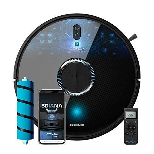Cecotec Robot aspirador y fregasuelos Conga 7090 IA, Inteligencia Artificial y Láser, Aspira, friega, barre y pasa la mopa, Tecn ciclónica, Reconoce objetos, Sensores alta precisión, 10000Pa, RoomP