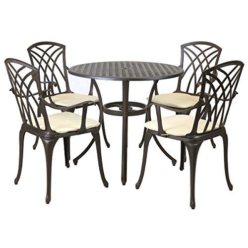 Charles Bentley Metall-Gartenmöbel-Set für Garten/Terrasse - mit Kissen - Aluminiumguss - 5-TLG