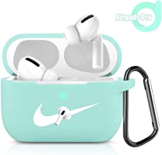 Airpods Pro Case Cover with Keychain, [Front LED Visible] Full Protective Silicone Airpods 3 Cute Sport Accessories Silicone Skin for 2019 AirPods Pro Charging Case (Mint Green-N)