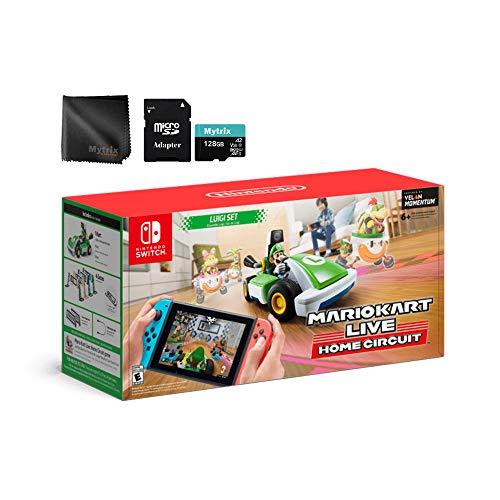 Mario Kart ao vivo: Início Circuit Luigi Set, Mytrix 128GB MicroSD com adaptador e microfibra lente pano (Console Switch não incluído)