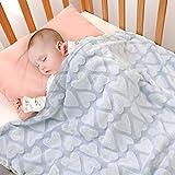 Bertte Plush Baby Blanket for Boys Girls | Swaddle Receiving Blankets Super Soft Warm Lightweight Breathable for Infant Toddler Crib Stroller - 33'x43' Large, Sky Blue Hearts Embossed