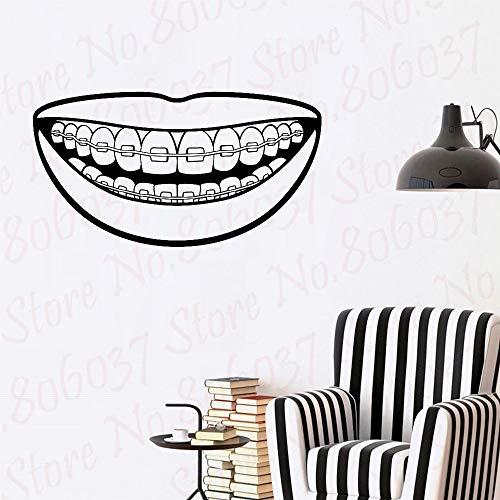 yaofale Lächeln Klammer Wandtattoo Aufkleber Vinyl Kunst Schlafzimmer Raumdekoration Zitat inspirierende Zahnarzt Büro Zähne
