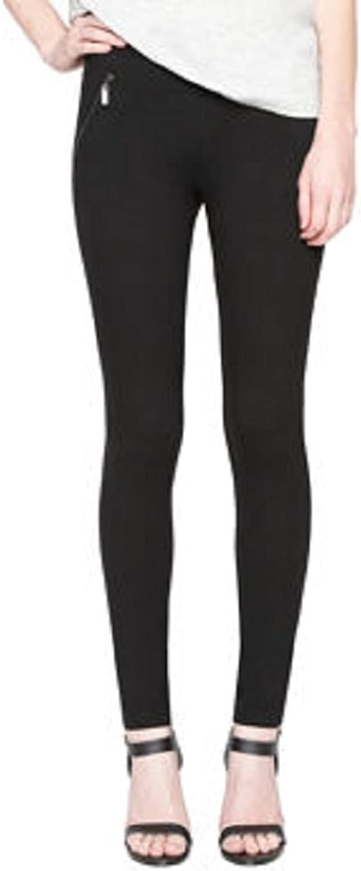 Matty M Ladies Ponte Pant with Faux Zipper Pockets (XLarge, Black)
