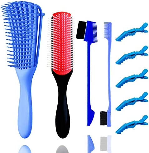 4 Pieces 9 Row Cushion Nylon Bristle Shampoo Brush Detangling Brush Set with 2 different Edge product image
