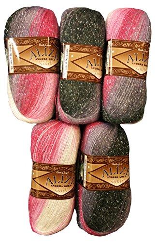 5 x 100 g Alize Glitzerwolle Mehrfarbig mit Farbverlauf und Glitzer, 500 Gramm Metallic - Wolle mit 20% Woll-Anteil (Bordeaux rosa grau weiß 1602)