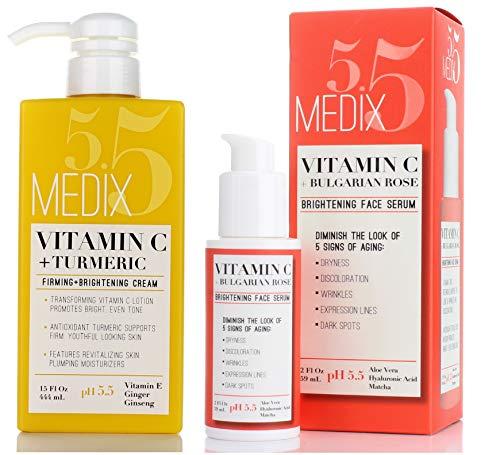 513do1kT2BL - Medix 5.5 Vitamin C Cream & Vitamin C Serum Two Piece Set. Anti-Aging Vitamin C Set with Vitamin E & Turmeric for Brightening, Dark Spots, Discoloration, and Sun Damaged Skin. 15oz Cream + 2oz Serum.