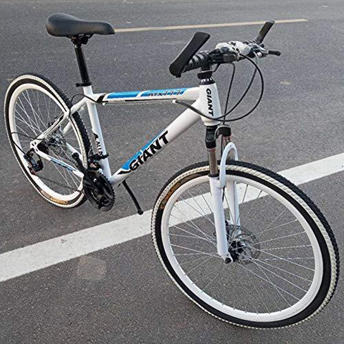TXX Mountain Bike Speed Bike,Mountain Bike Adult Version,High Carbon Steel Bike,City Bike The Whole Model/White Blue / 24 inches x 15 inches