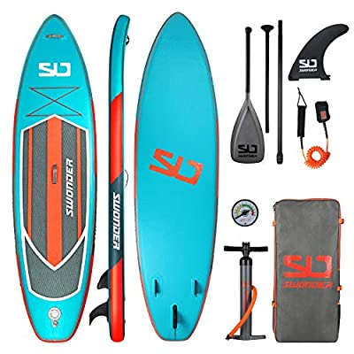 "Swonder Premium Inflatable Stand Up Paddle Board, Ultra Durable & Steady, 11'6"" Long 32"" Wide 6"" Thick, Full SUP Pack with Adjustable Paddle, Backpack, Leash, and Pump for Youth & Adult"
