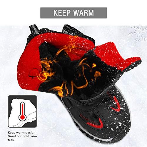 ASHION Kids Winter Snow Boots Trekking Climbing Outdoor Shoes Boys Trekking Waterproof Snowshoeing Childrens Hiking Boots, 5 Black/Red, 1 UK Child