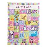 "Let's Make Memories Personalized Alphabet Baby Quilt - for Newborns, Babies, Nursery – Pastel Design - 42""Lx32""W"