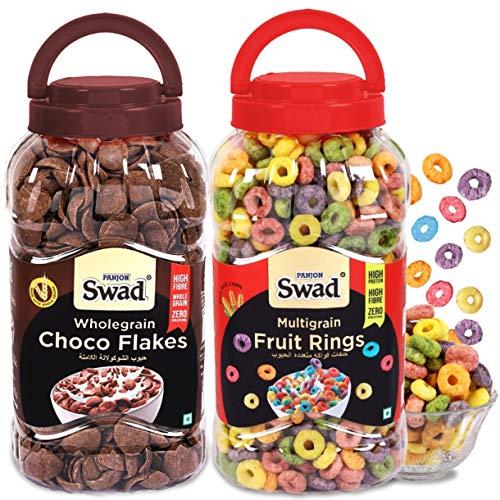 Swad Fruit Rings Choco Flakes Combo Of 2 Jars (Multigrain...