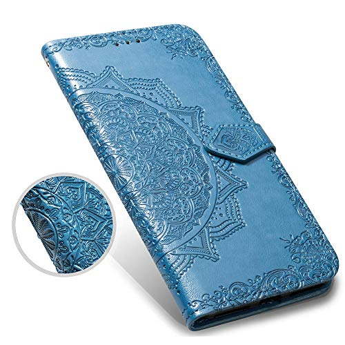 Galaxy S9 Plus Case,S9+ Plus Wallet Case,Luxury Henna Mandala Floral Flower PU Leather Flip Phone Protective Case Cover with Credit Card Slot Holder Kickstand for Samsung Galaxy S9 Plus,Blue