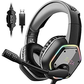 EKSA E1000 USB Gaming Headset for PC - Computer Headphones with Microphone/Mic Noise Cancelling 7.1 Surround Sound Wired Headset&RGB Light - Gaming Headphones for PS4/PS5 Console Laptop