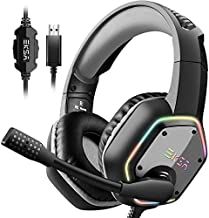 EKSA E1000 USB Gaming Headset for PC - Computer Headphones with Microphone/Mic Noise Cancelling, 7.1 Surround Sound Wired Headset&RGB Light - Gaming Headphones for PS4/PS5 Console Laptop