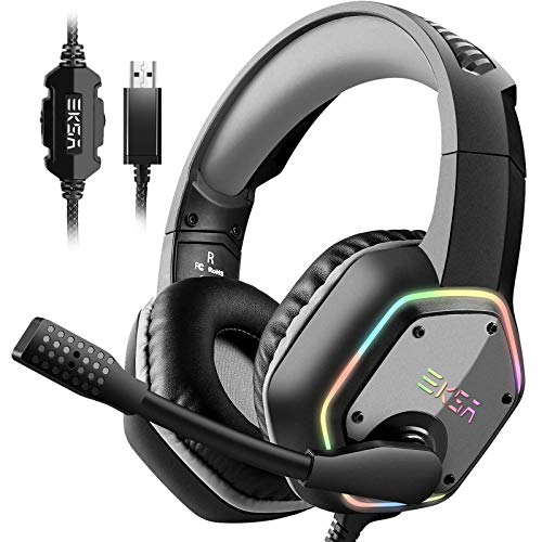 EKSA USB Gaming Headset for PC - Computer Headphones with 7.1 Surround Sound Stereo Noise Canceling Mic/Microphone RGB Light - Gaming Headphones for PS4/PS5 Console Laptop