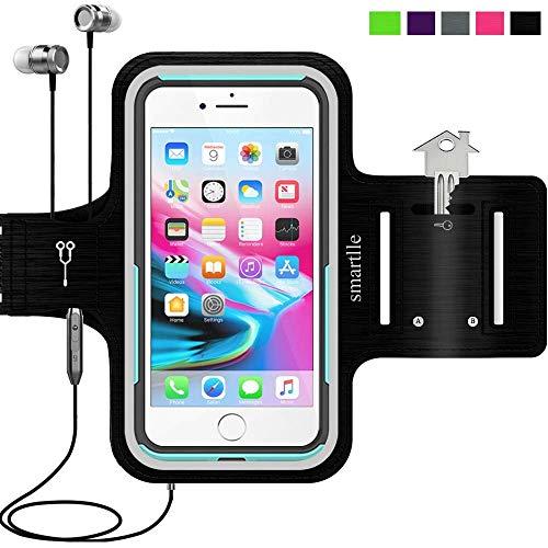 Smartlle Sportarmband für iPhone 11/11 Pro Max/XR/XS MAX/8 Plus/7 Plus/6S Plus, Samsung Galaxy A/S/Note, LG, Huawei, Bis Zu 6.9''. Running, Workout & Joggen Laufen Armband-Handyhalter Case(schwarz)