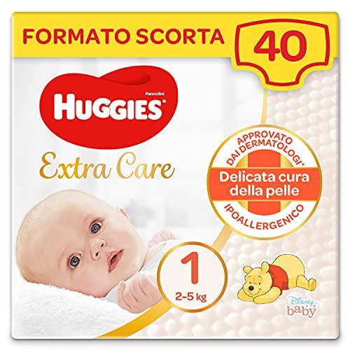 Huggies Huggies Extra Care Bebé, Taglia 1 (2-5Kg), Confezione Da 40 Pannolini - 830