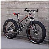 AYHa Bicicletas de montaña para adultos, Fat Tire doble freno de disco de la bici de montaña Rígidas, Big ruedas de bicicleta, Frame acero de alto carbono,nueva Red,26 Pulgadas 21 Velocidad