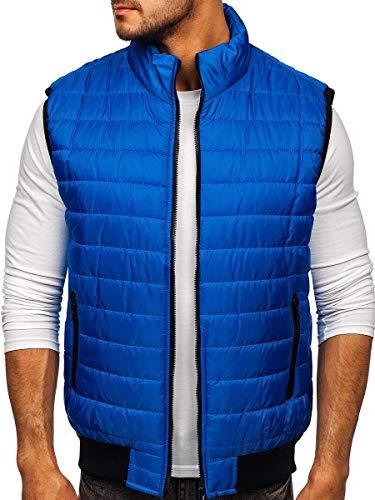 BOLF Herren Weste Stehkragen Steppweste Bodywarmer Daunenweste Reißverschluss Weste Ärmellose Sportweste Zip Wärme Freizeit Outdoor Style J.Style MY77 Blau L [1U1]