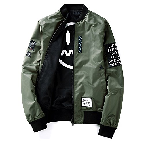 Mens Pilot Jacket Two Sides Wear Letter Printed Thin Bomber Windbreaker Jacket Army Green