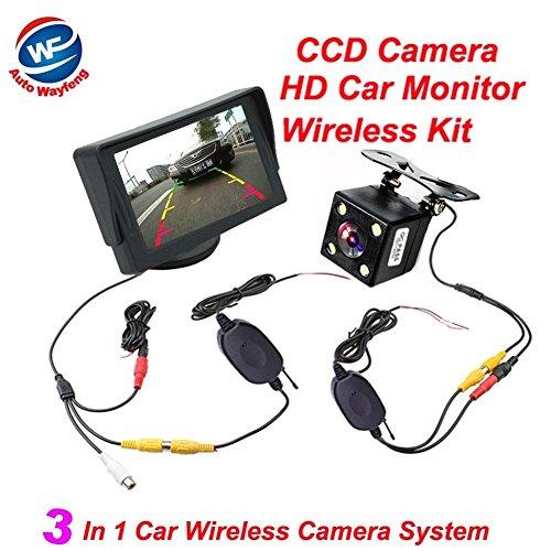 Auto Wayfeng WF® drahtlose Video-Auto-Parkplatzunterstützung, 3 in 1 drahtlose Auto-hintere Ansicht-Kamera Monitor2.4 Ghz Installationssatz-drahtlose Kamera