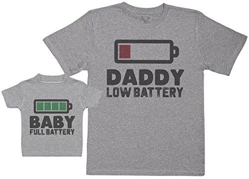 Baby Full Battery - Regalo para Padres y bebés en un Camiseta para bebés y una Camiseta de Hombre a Juego - Blanco - L & 0-3 Meses