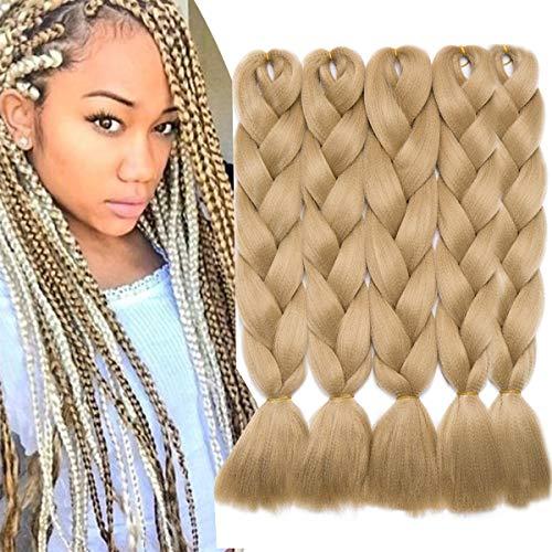 SEGO 5 Bundle Treccine Africane Extension Trecce Lunghe 60cm Treccia Finta Capelli Sintetici Braids Hair Crochet Ombre 500g - Biondo Cenere
